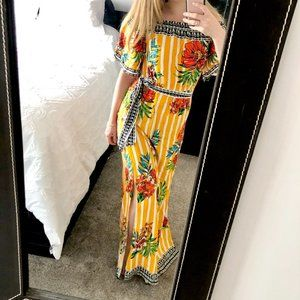Flying Tomato Yellow Striped Floral Maxi Dress